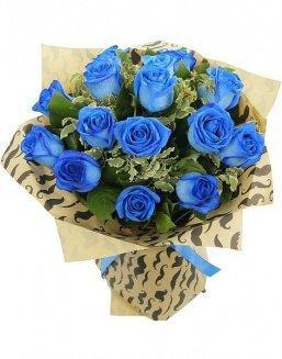 Bouquet of 15 blue roses | Flowers on Anniversary flowers