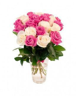 Mix bouquet of 25 crimson and white roses | Pink flowers to mother inexpensive flowers