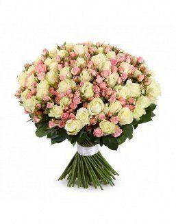 Mix bouquet of 25 white/pink spray roses | White roses flowers