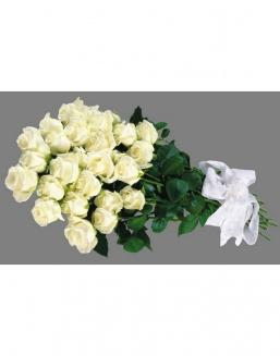 Bouquet of 25 white Dutch roses | Dutch roses
