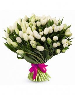 Bouquet of 51 white tulips | Flowers on Anniversary flowers