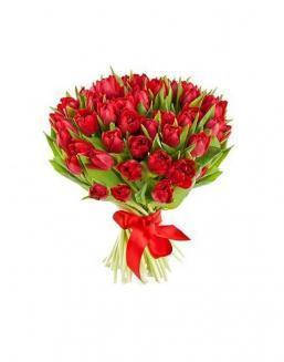Bouquet of 51 red tulips | Flowers on Anniversary flowers