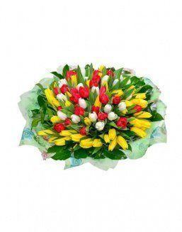 Mix bouquet 101 tulips | Flowers on Anniversary flowers