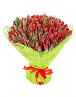 Bouquet 101 red tulips | Flowers on Anniversary flowers