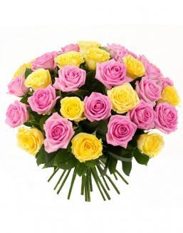 Bouquet mix of 33 pink and yellow roses | Flowers on Anniversary flowers